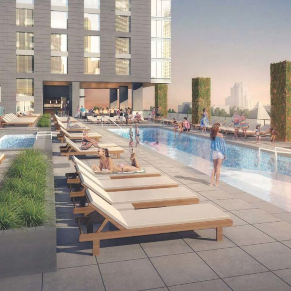 Residents Enjoying the Rooftop Pool at The Residences at Omni Louisville Apartments